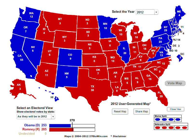 years projected electoral college votes luck obama