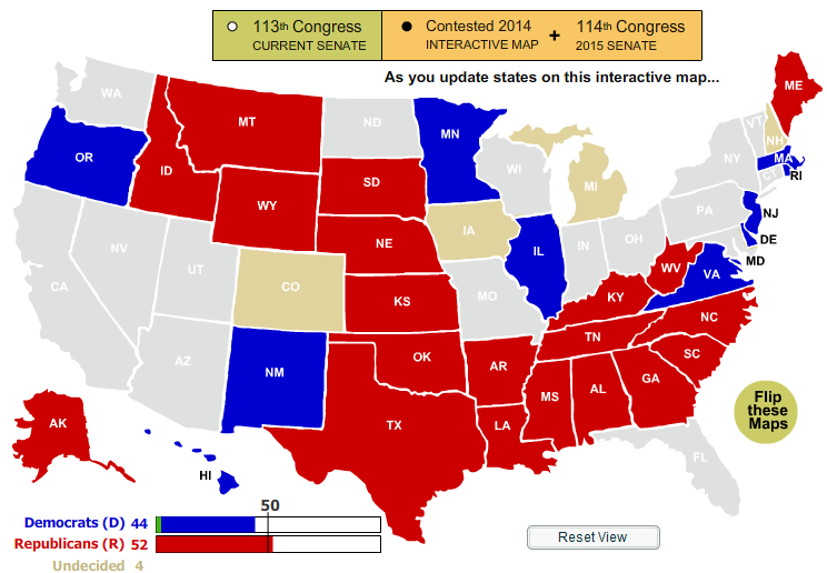 Moe Lane » Looking at the current 2014 Senate map.